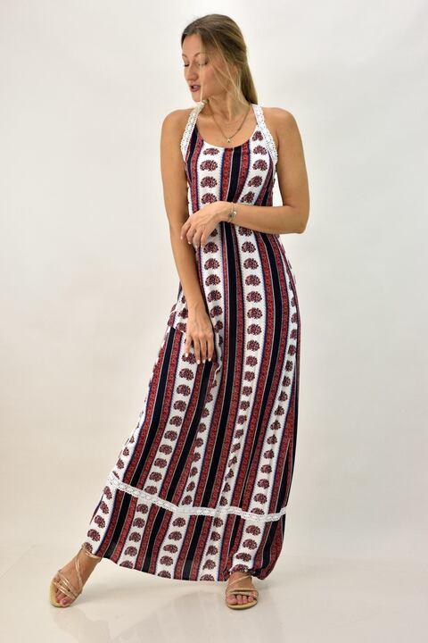 Μακρύ φόρεμα με χιαστί  δαντέλα  - Μπορντώ