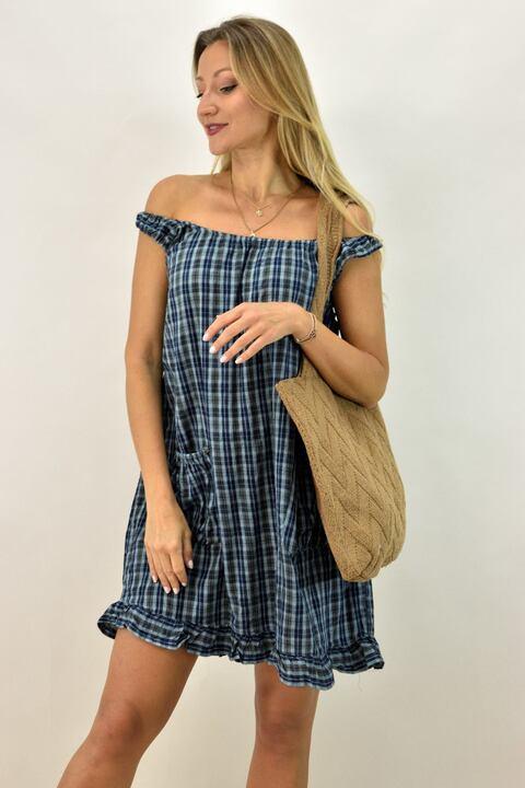 Γυναικείο φόρεμα καρό - Μπλε Σκούρο