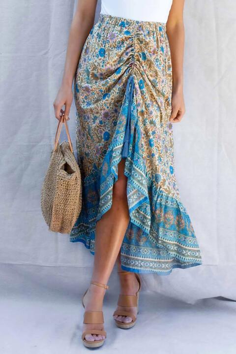 Μπόχο φούστα με σχέδιο - Γαλάζιο