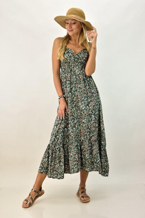 Γυναικείο φόρεμα φλοράλ - Λαδί
