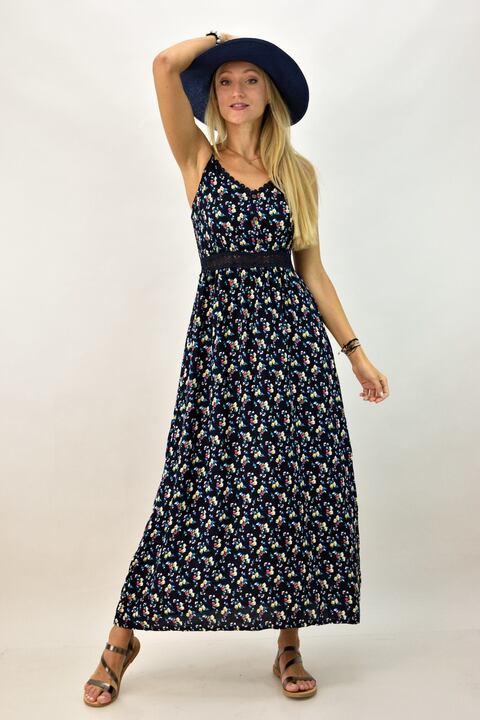 Γυναικείο φόρεμα φλοράλ μακρύ - Μπλε Σκούρο