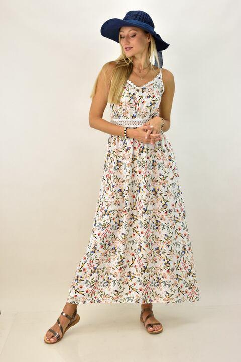 Γυναικείο φόρεμα φλοράλ μακρύ - Λευκό