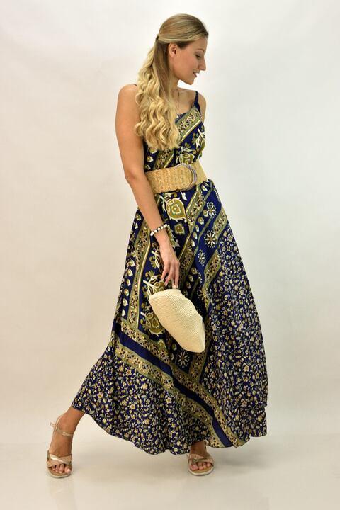 Γυναικείο φόρεμα με λεπτή τιράντα - Μπλε