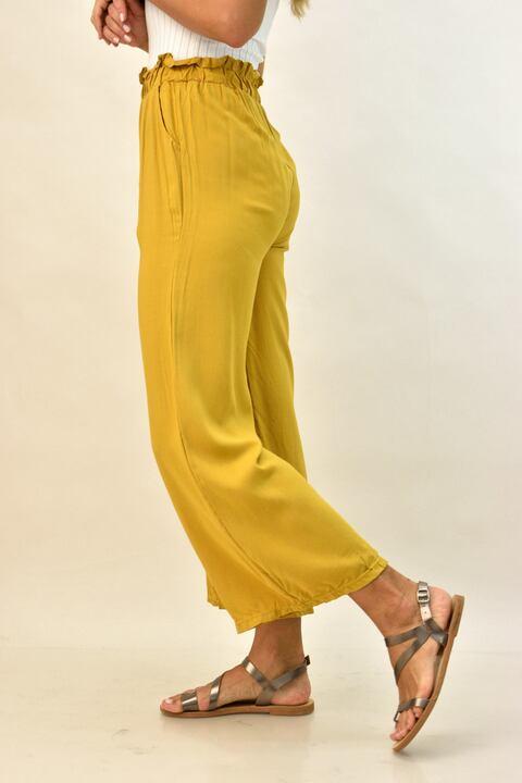 Γυναικεία παντελόνα με ζώνη - Μουσταρδί
