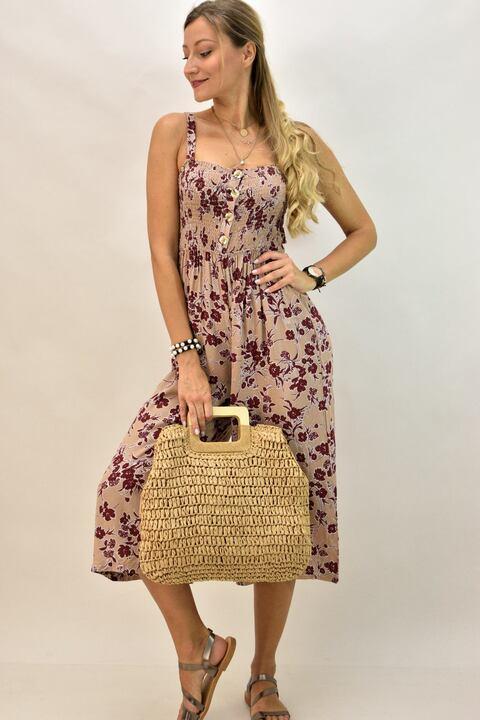 Γυναικεία ολόσωμη φόρμα φλοράλ - Μπεζ