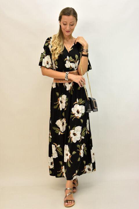 Γυναικείο φόρεμα φλοράλ μακρύ - Μαύρο