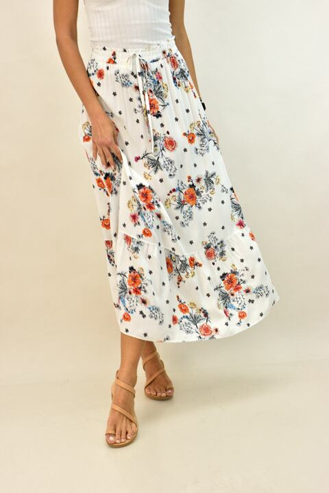 Mάξι φλοράλ φούστα με βολάν - Λευκό
