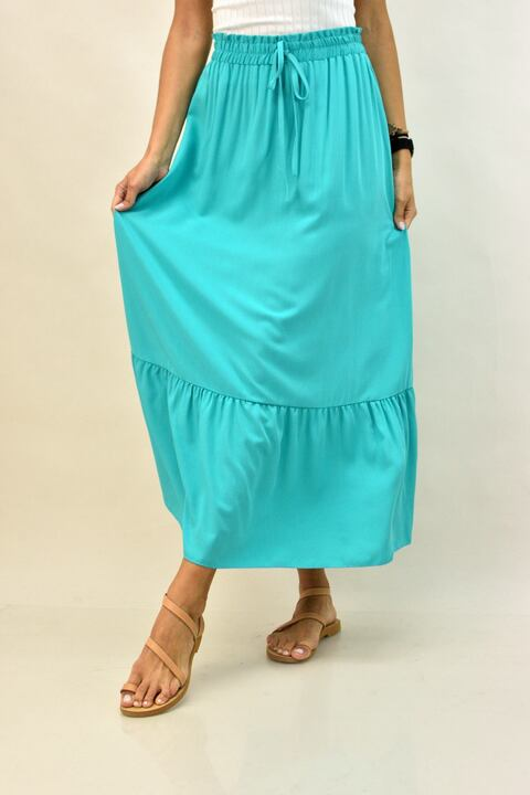 Mάξι μονόχρωμη φούστα με βολάν - Βεραμάν
