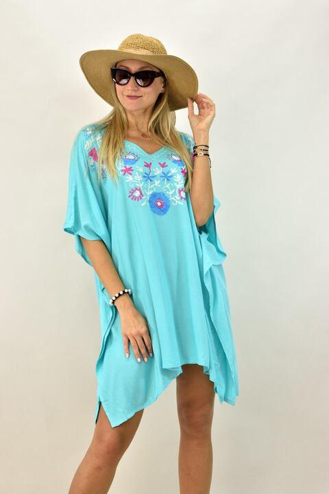 Γυναικείο καφτάνι με κεντητό σχέδιο - Γαλάζιο