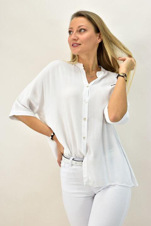 Γυναικείο πουκάμισο με μάο - Λευκό