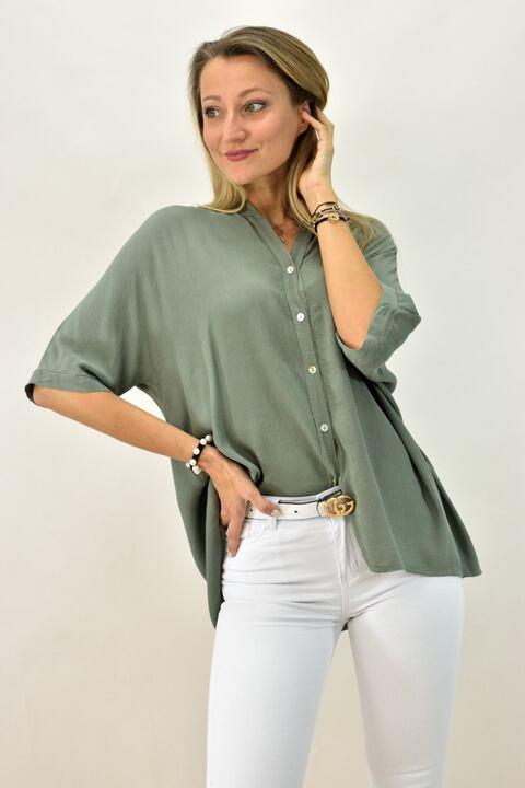 Γυναικείο πουκάμισο με μάο - Χακί