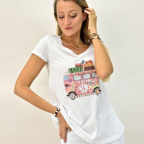 Γυναικεία μπλούζα T-shirt με βανάκι και στρας -