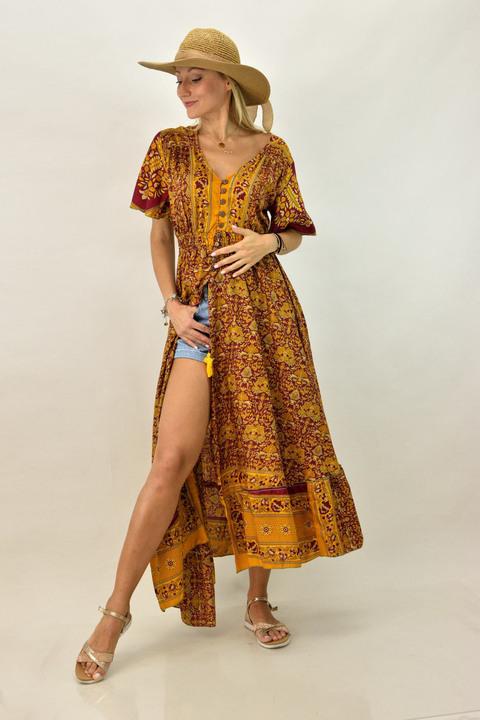 Γυναικείο φόρεμα μπόχο με κουμπιά - Μουσταρδί