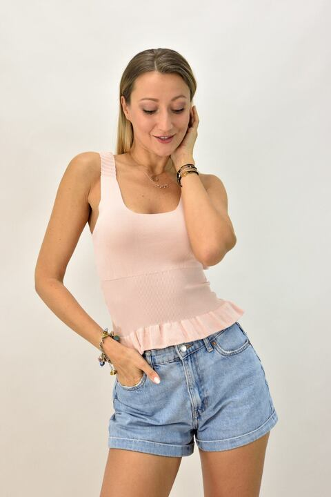 Γυναικείο πλεκτό τοπ τελείωμα βολάν - Ροζ