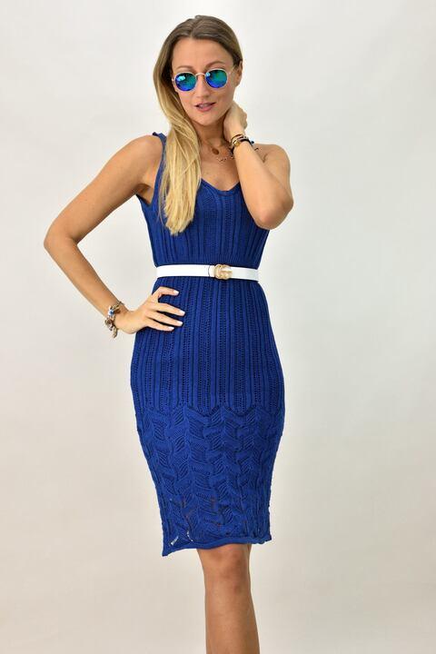 Γυναικείο πλεκτό φόρεμα - Μπλε ρουά