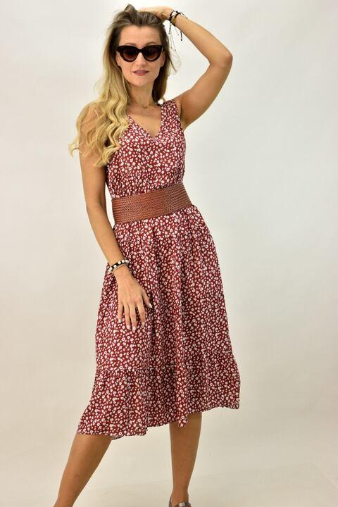 Γυναικείο φόρεμα φλοράλ plus size - Κεραμιδί