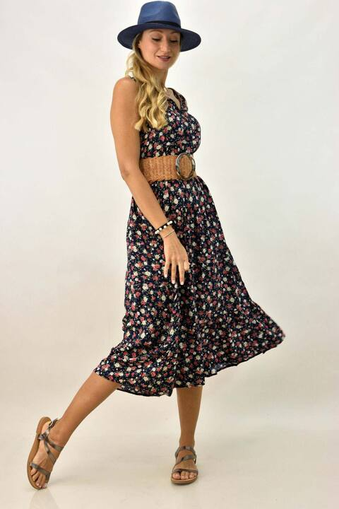 Γυναικείο φόρεμα φλοράλ plus size - Μπλε Σκούρο