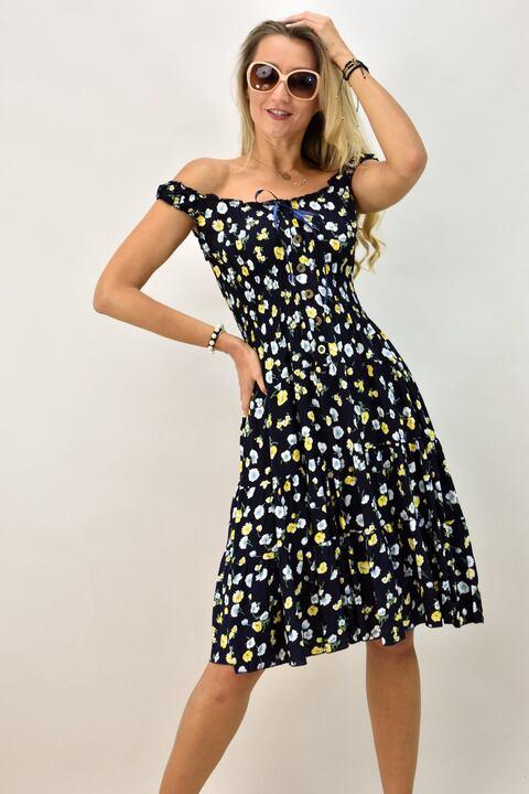 Γυναικείο φλοράλ φόρεμα - Μπλε Σκούρο