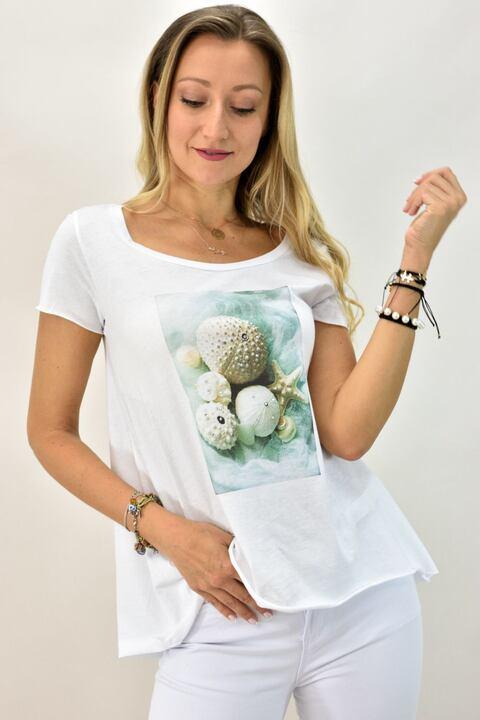 Γυναικεία μπλούζα T-shirt με κοχύλια - Λευκό