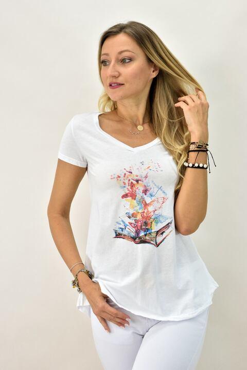 Γυναικεία μπλούζα T-shirt με βιβλίο και πεταλούδες - Λευκό