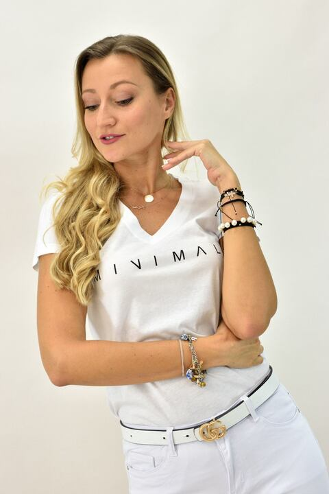 T-shirt με τύπωμα minimal - Λευκό