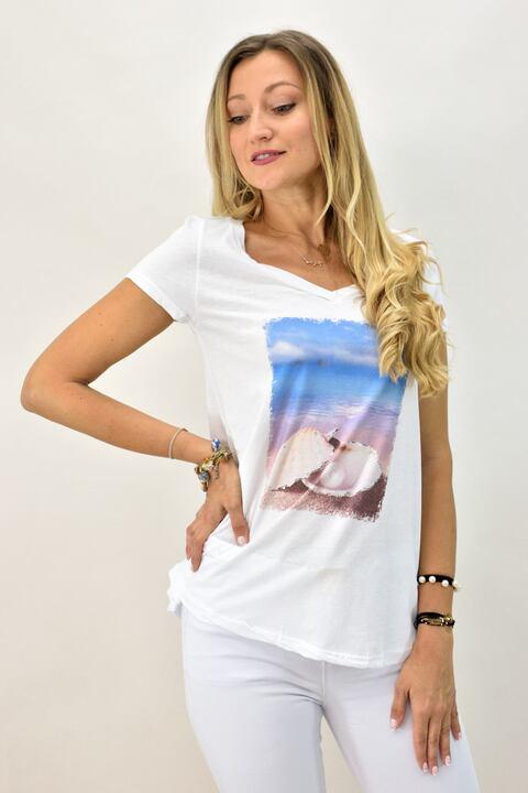 Γυναικεία μπλούζα T-shirt με  ψηφιακό τύπωμα κοχύλια - Λευκό