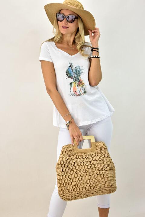 Γυναικεία μπλούζα T-shirt με  τύπωμα βιολί - Λευκό