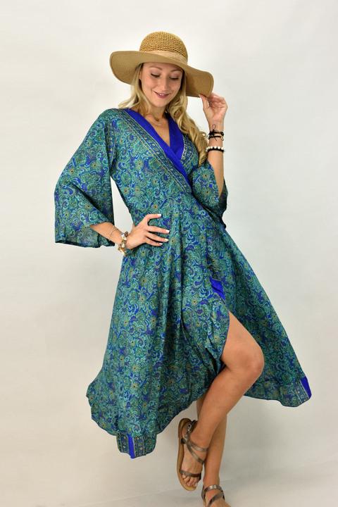 Γυναικείο μεταξωτό φόρεμα που δένει στο πλάι - Βεραμάν