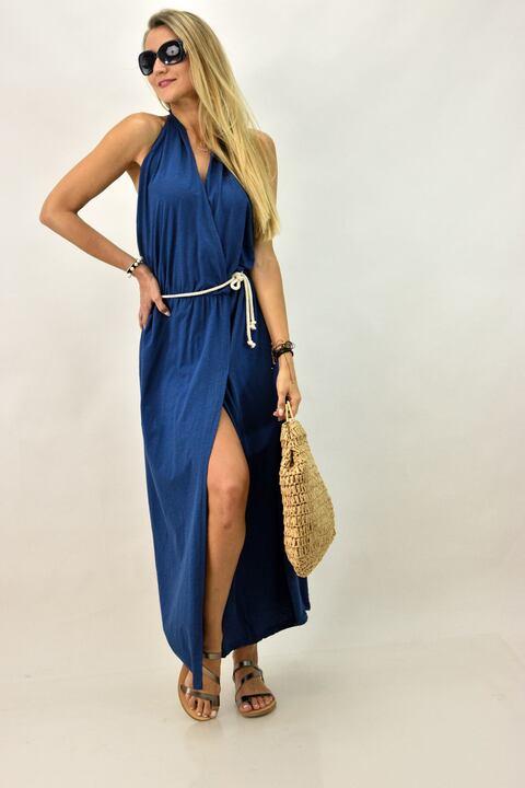 Γυναικέιο φόρεμα με άνοιγμα - Μπλε