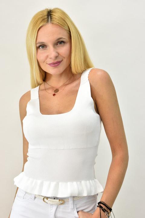 Γυναικείο πλεκτό τοπ τελείωμα βολάν - Λευκό