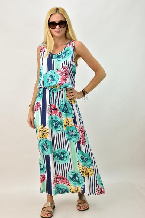 Φόρεμα με μοτίβο λουλούδια και κορδόνι στη μέση - Μπλε