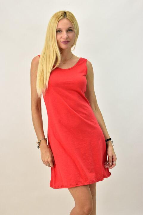 Γυναικείο φόρεμα μονόχρωμο - Κόκκινο