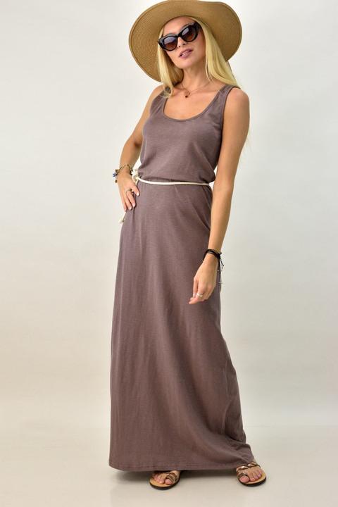 Γυναικείο φόρεμα μακρύ με άνοιγμα στην πλάτη - Καφέ
