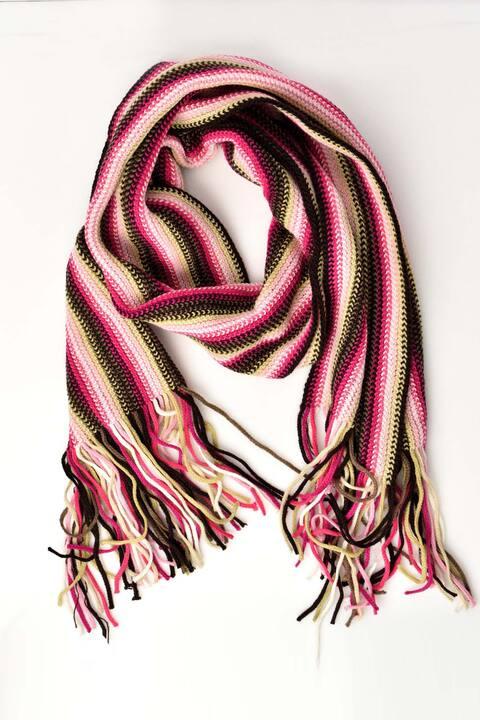 Κασκόλ πλεκτό με πολύχρωμη πλέξη - Φούξια