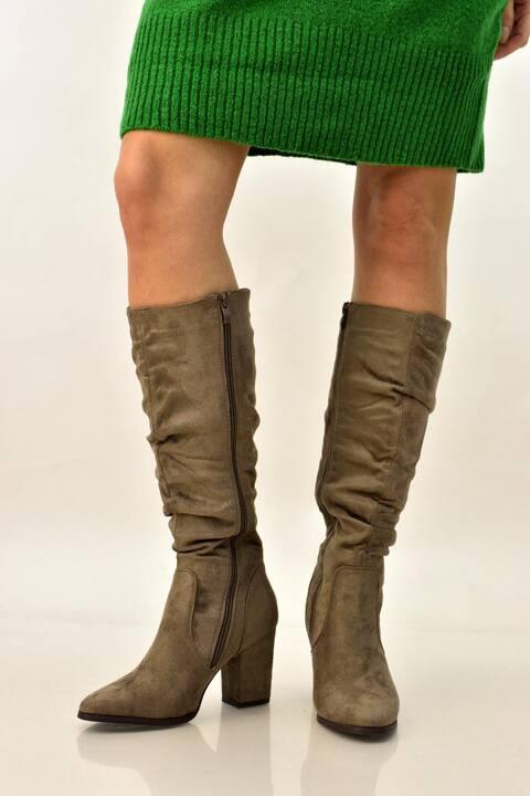 Γυναικειές μπότες suede  - Μπεζ
