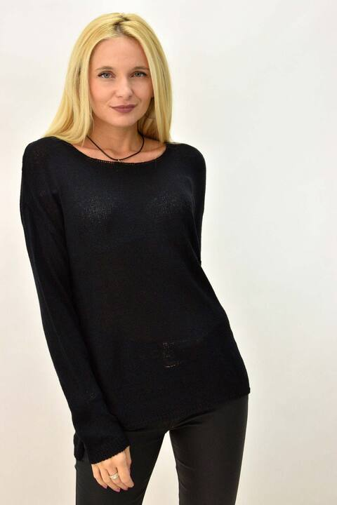 Πλεκτή μακρυμάνικη oversized μπλούζα  με τσέπη - Μαύρο