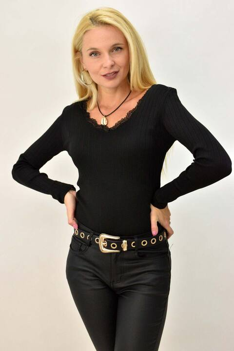 Γυναικεία μακρυμάνικη μπλούζα με δαντέλα - Μαύρο