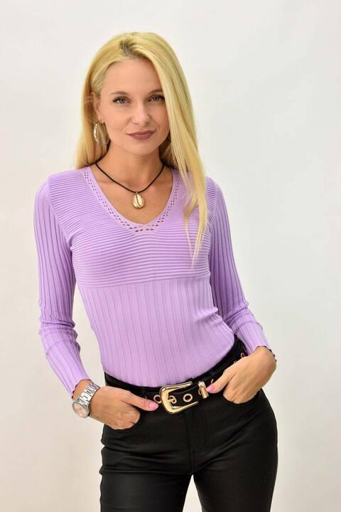 Γυναικεία πλεκτή μακρυμάνικη  μπλούζα - Λιλά