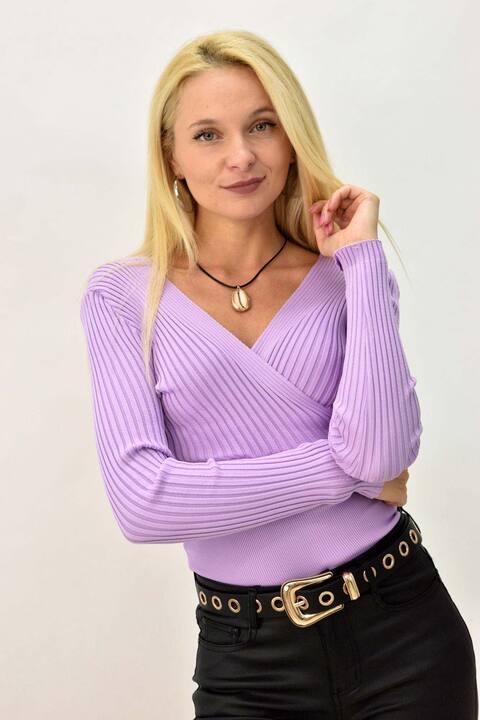 Γυναικεία πλεκτή μακρυμάνικη  κρουαζέ μπλούζα - Λιλά