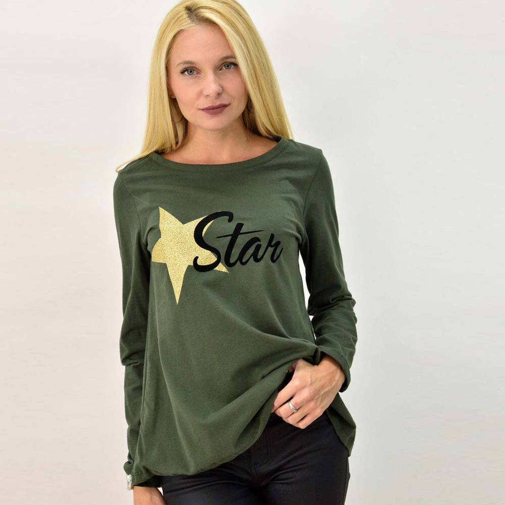 Basic μακρυμάνικη μπλούζα με τύπωμα star