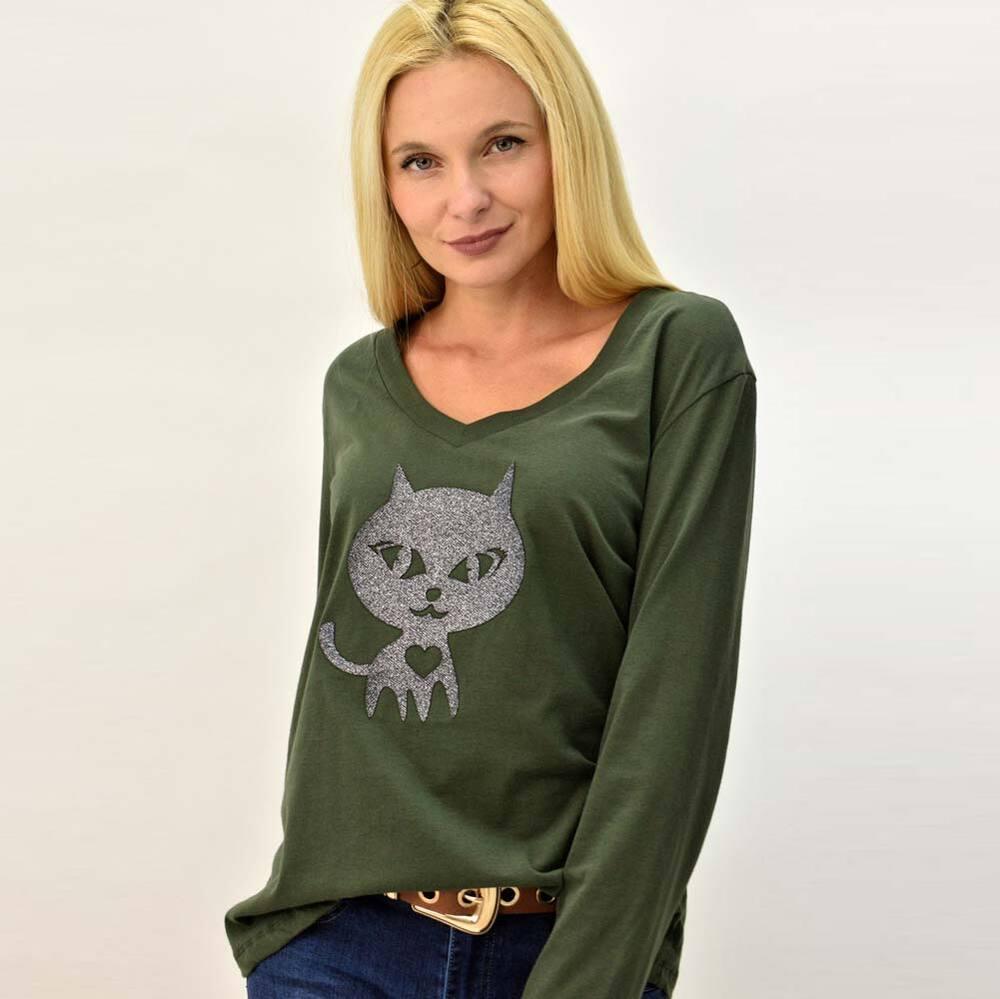 Basic μακρυμάνικη μπλούζα με τύπωμα γάτα