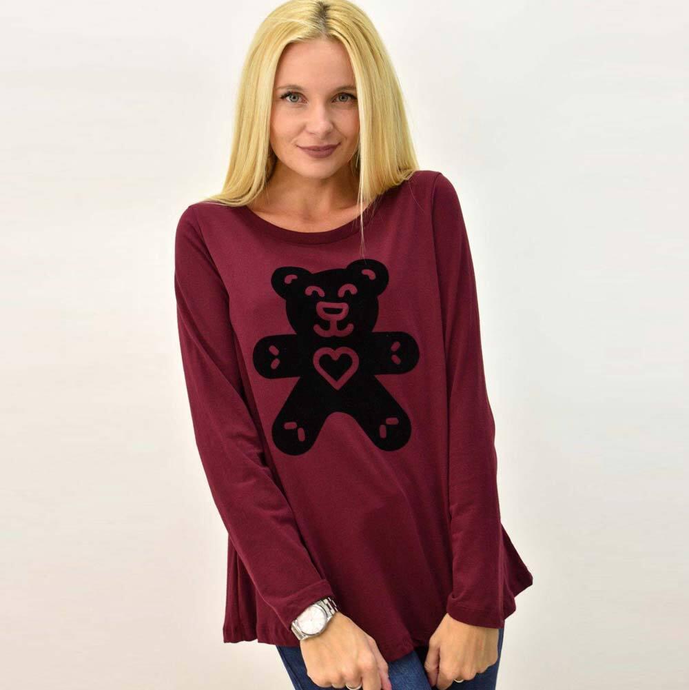Basic μακρυμάνικη μπλούζα με τύπωμα αρκουδάκι