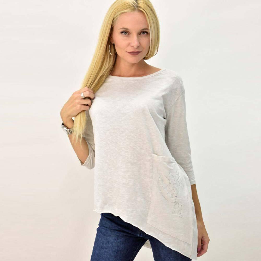 Γυναικείο μπλουζοφόρεμα με τσέπη oversized