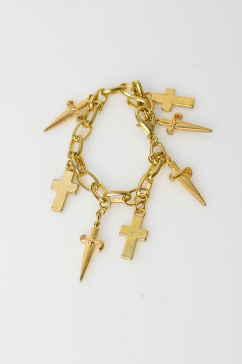 Γυναικείο βραχιόλι με σχεδιο σταυρούς και σπαθιά - Χρυσό