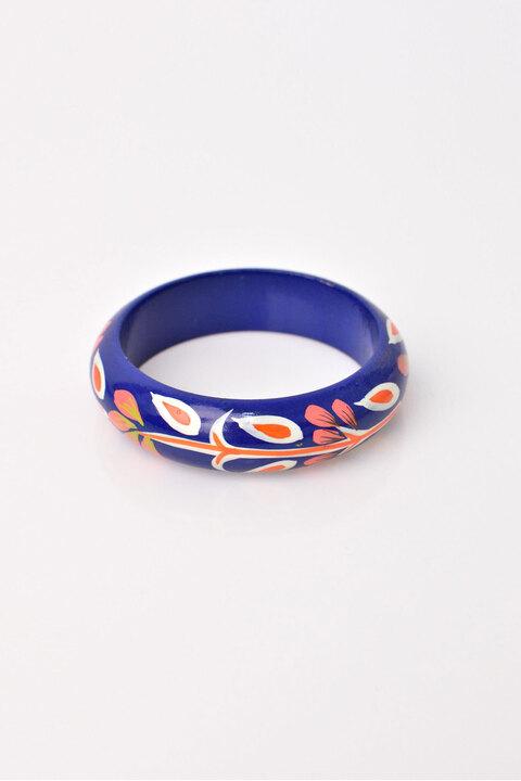 Γυναικείο κοκκάλινο βραχιόλι με σχέδιο - Μπλε
