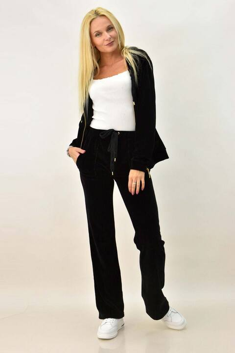 Βελουτέ φόρμα σετ μαύρο στρας μάνταλα για μεγάλα μεγέθη - Μαύρο