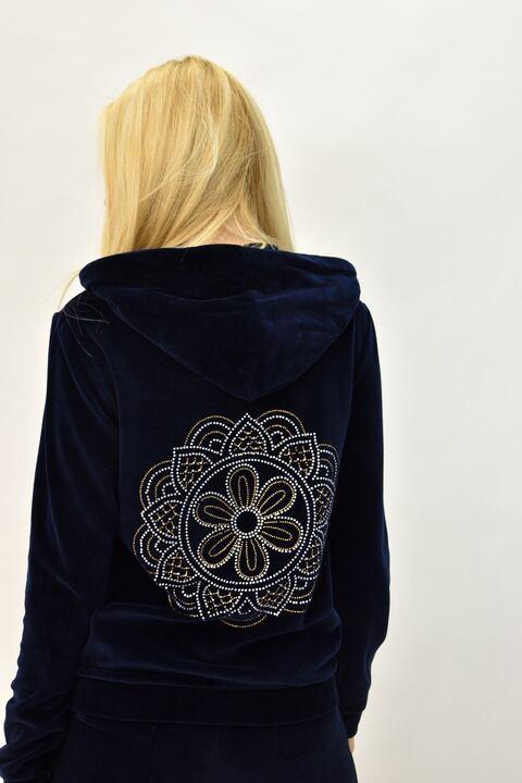 Βελουτέ φόρμα σετ μπλε σκούρο στρας μάνταλα για μεγάλα μεγέθη - Μπλε Σκούρο