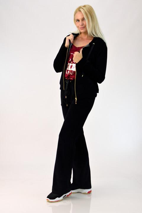Βελουτέ φόρμα σετ μαύρο στρας Queen για μεγάλα μεγέθη - Μαύρο
