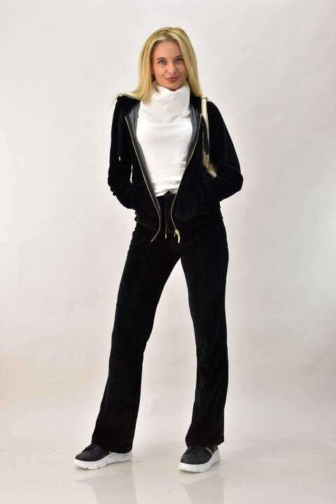 Βελουτέ φόρμα σετ μαύρο στρας Angel για μεγάλα μεγέθη - Μαύρο