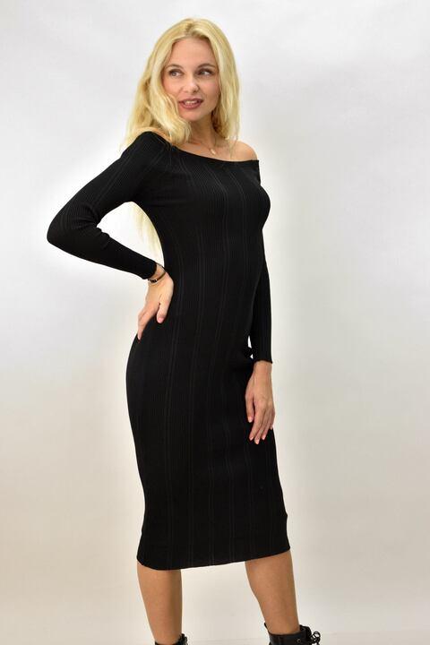 Γυναικείο φόρεμα εφαρμοστό ριπ με σχέδιο - Μαύρο